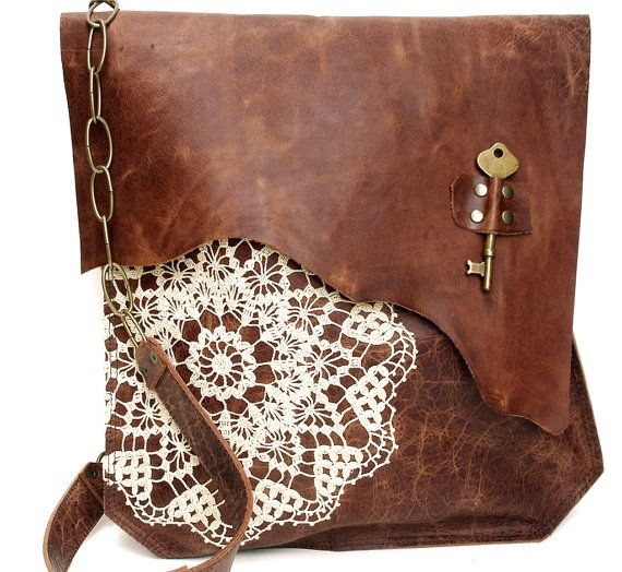 Boho Leather Messenger Bag with Crochet Lace & Antique Key - XL Deluxe MADE to ORDER