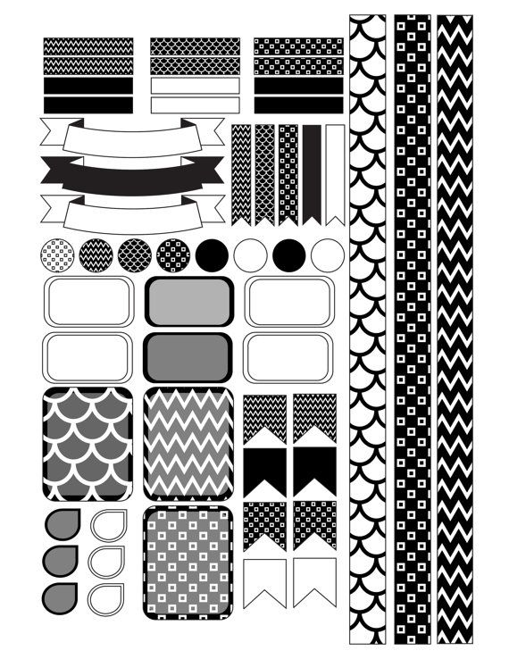 Black and White Planner Stickers Printable by PrintThemAllStudio