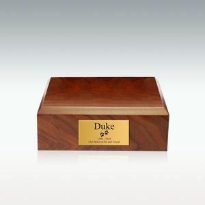 Small Walnut Traditional Pet Cremation Urn is made from solid hardwood. This cremation urn is a timeless memorial to your beloved pet