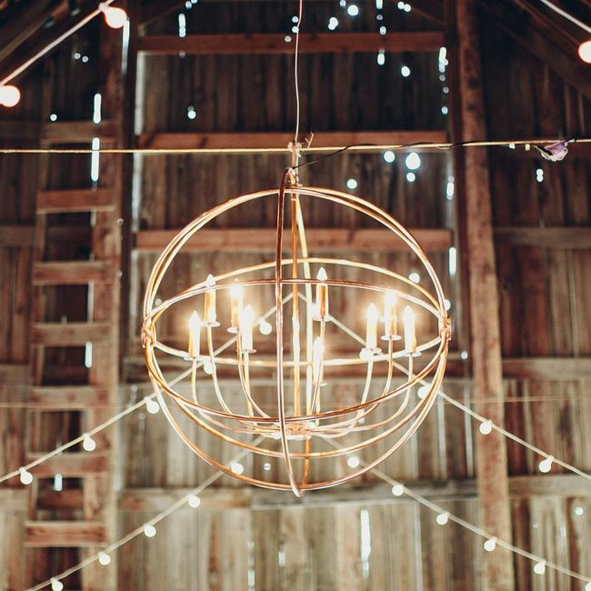 Chandelier Barn Wedding   ... copper chandelier made by Jenna's father lit up the rustic barn