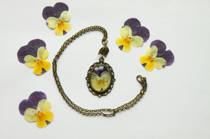 Purple and Yellow Viola Necklace, pressed flower jewellery, gift for her by flowercraftsboutique on Etsy