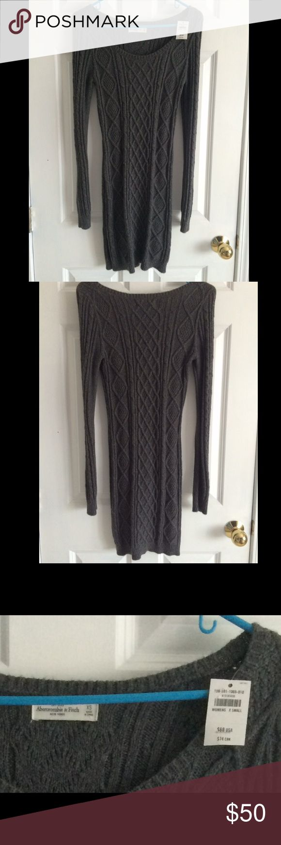 Gray Abercrombie and Fitch Sweater Dress Gray sweater dress from Abercrombie and Fitch, never worn, NWT, 35 inches long on the hanger from shoulder to the bottom, size xs, thick material. #sweaterdress #abercrombieandfitch #nwt #gray #sizexs Abercrombie & Fitch Dresses Long Sleeve
