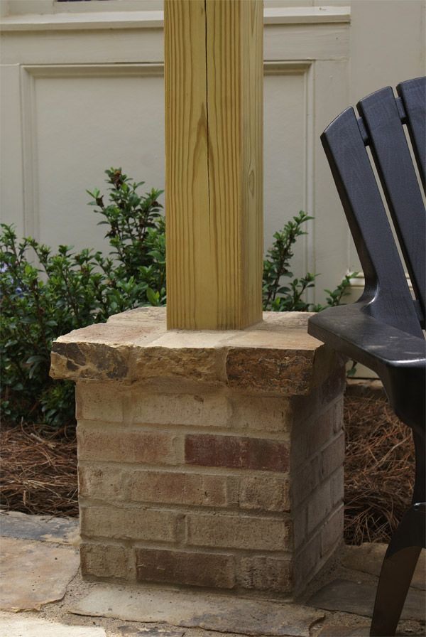 how to build a stone column around a post