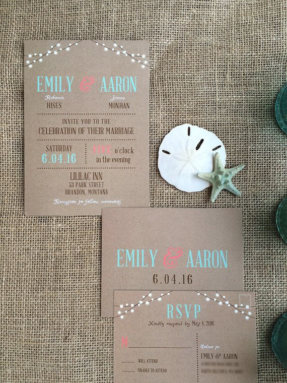 Rustic Beach Coral Mint Wedding Invitations Invites by SAEdesignstudio on Etsy