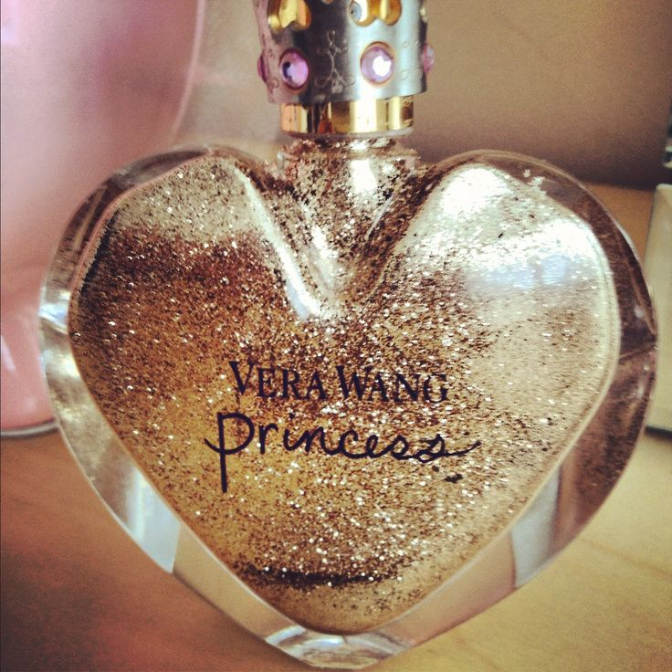 Empty perfume bottle now glittery on the inside! Fill it with glitter.  To get this effect you mix water and glue (just a little of each!) and put it in the bottle, then funneled the glitter in, closed it up, and rolled it around to cover the inside with glitter!