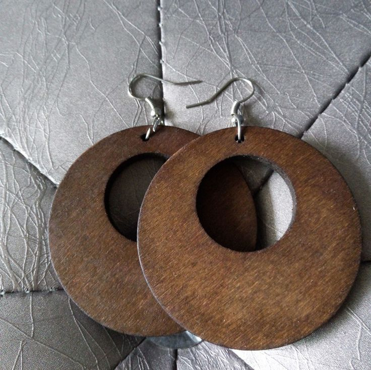 Vintage Solid Coffee Round Classic Wooden Earring                                                                                                                                                                                 More