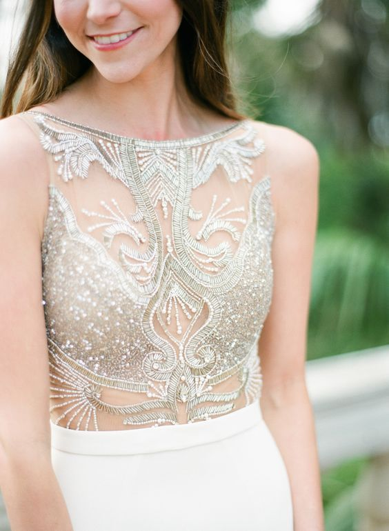 Glam sheer + beaded wedding dress bodice: http://www.stylemepretty.com/texas-weddings/austin/2016/05/17/ethereal-art-nouveau-bridal-in-austin/ | Photography: Sophie Epton - http://www.sophieepton.com/