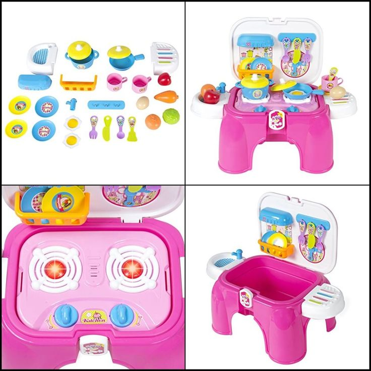 Pretend Kitchen Cooking Playset w/ Lights & Sounds Great Christmas Gift for Kids #BestChoiceProducts