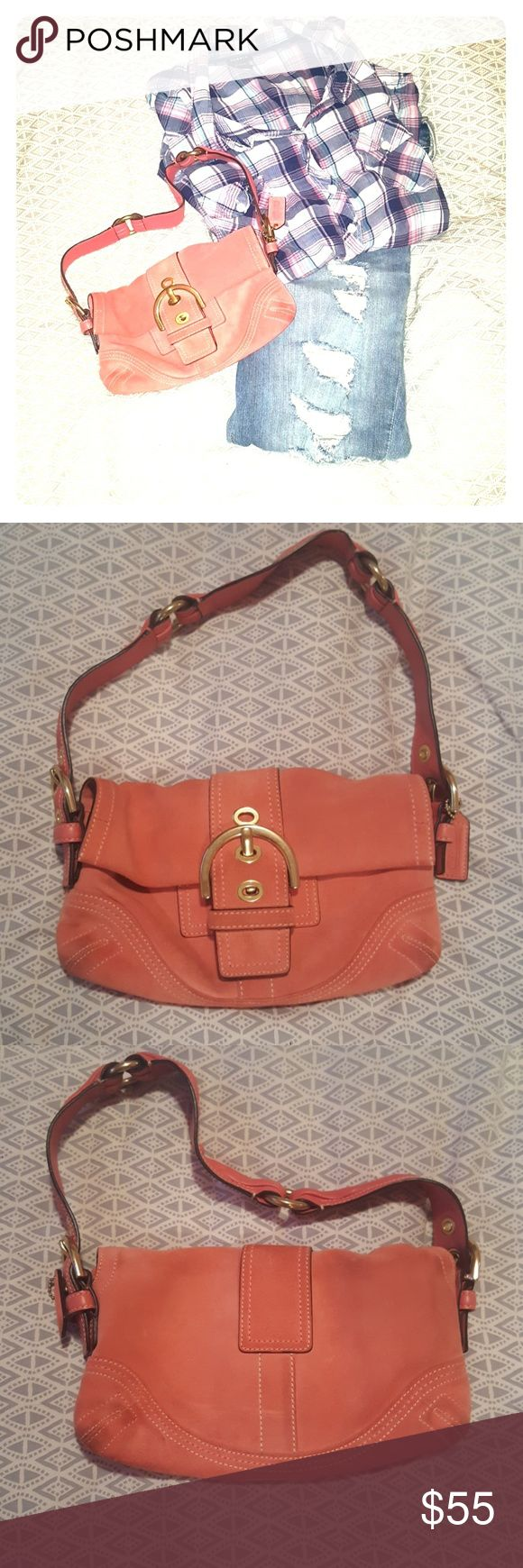 AUTHENTIC COACH PURSE Authentic Coach pink suede purse with gold hardware. Has multiple compartments inside with one zipper pocket. In pre loved condition. Ware seen throughout. Coach dust bag included. Color is a Salmon pink. Coach Bags