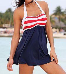 50S 60S Retro Vintage Swim Dress Suit Sailor