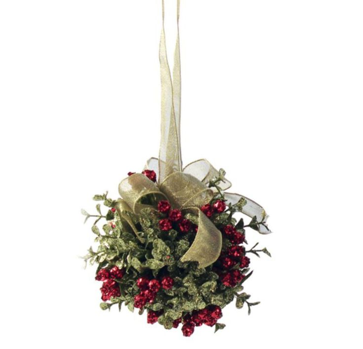"This Kissing Krystals Mistletoe Ornament from Ganz. This classic style ornament has plastic green leaves and red berries that are sprinkled with shimmering glitter. Classic Red Additional Sizing: 7"" O"