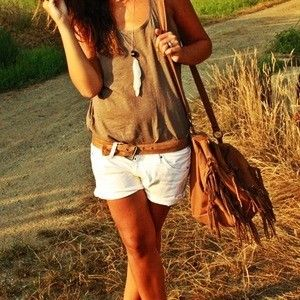 cute: Summeroutfit, White Shorts, Summer Looks, Fashion Clothing, Summer Outfit, Inspiration Pictures, Necklaces, Bags, Summer Time