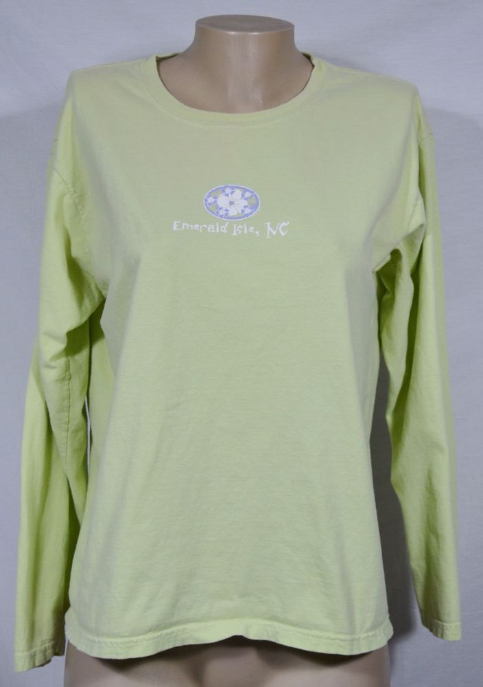 LADY COMFORT COLORS Green Long Sleeved Top Large Emerald Isle, NC Logo Cotton #LadyComfortColors #Top #Casual