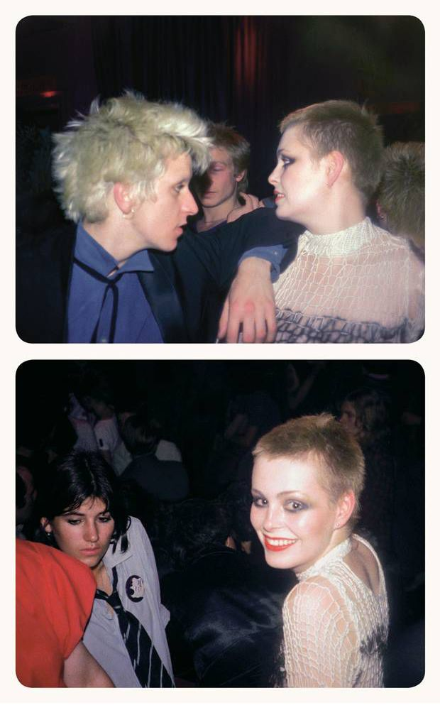 Steve Strange, pistols' Paul Cook and Seditionaries shop assistants Tracie O'Keefe and Bella Freud, photos by Simon Barker, 1977