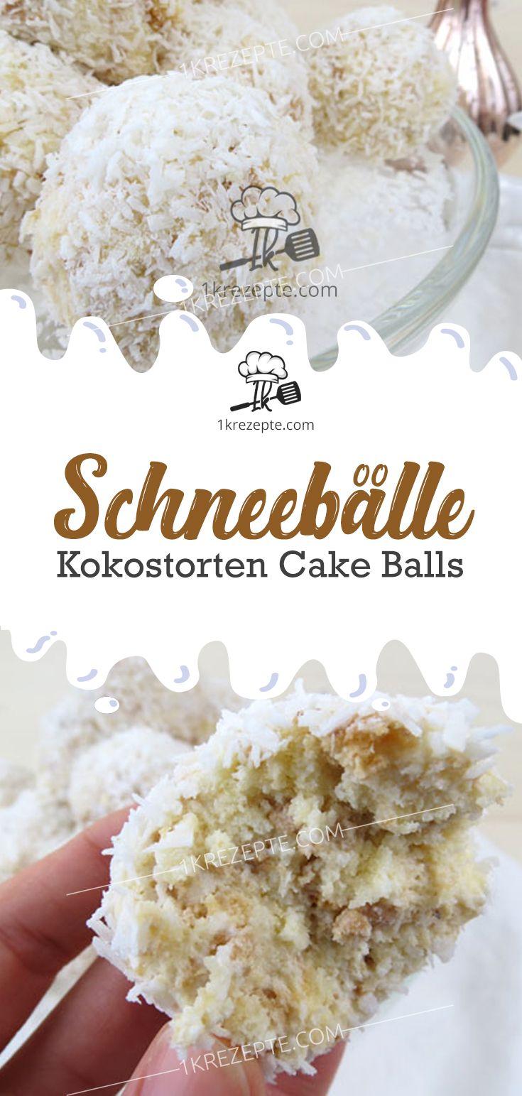 Schneebälle | Kokosnusskuchen-Kuchen-Kugeln – Rezepte 1k   – Der Food-Blog mit einfachen Rezepten, die gelingen