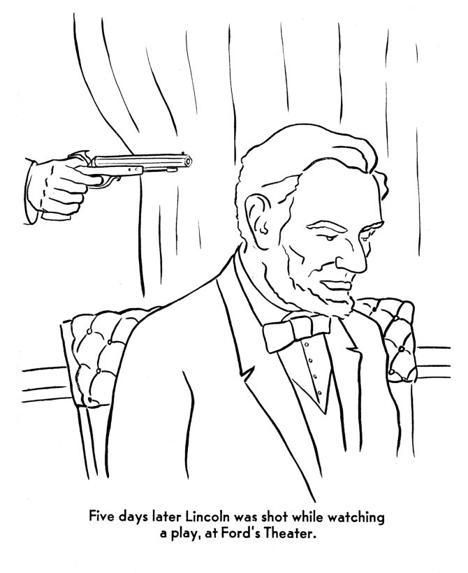 The assassination Abraham Lincoln Coloring Page American