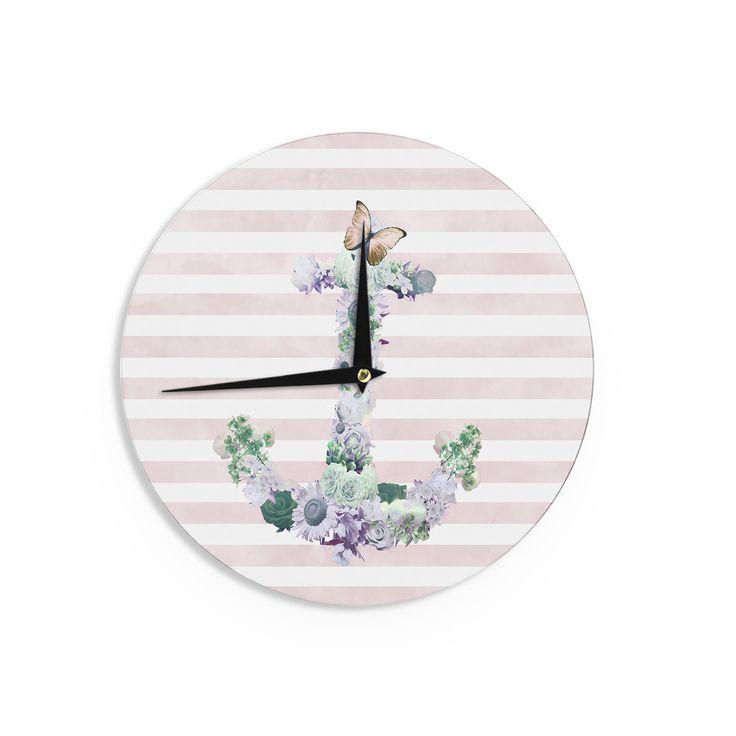 "Nika Martinez ""Floral Anchor"" Pink Stripes Wall Clock"