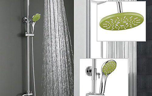 Homelody® Système colonne ensemble de douche chromé avec barre flexible au pommeau pommeaux de douche fixe et de douchette à mains douche…