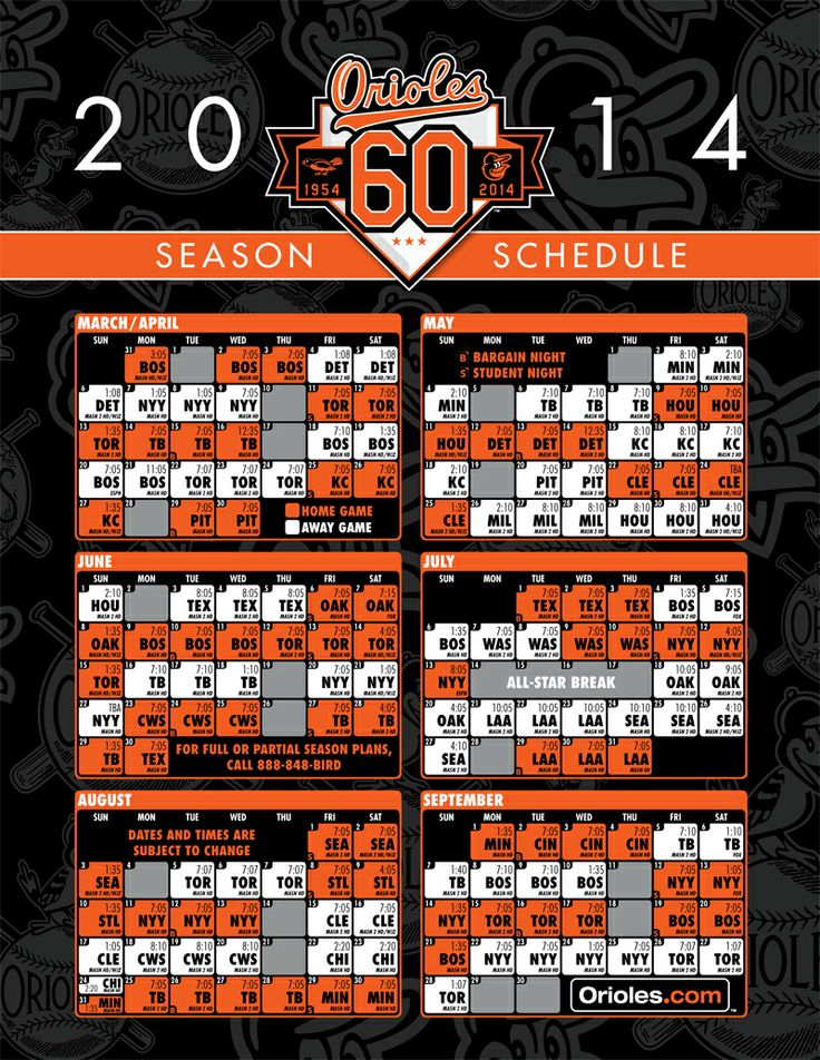 2014 Schedule for Orioles Baseball!!