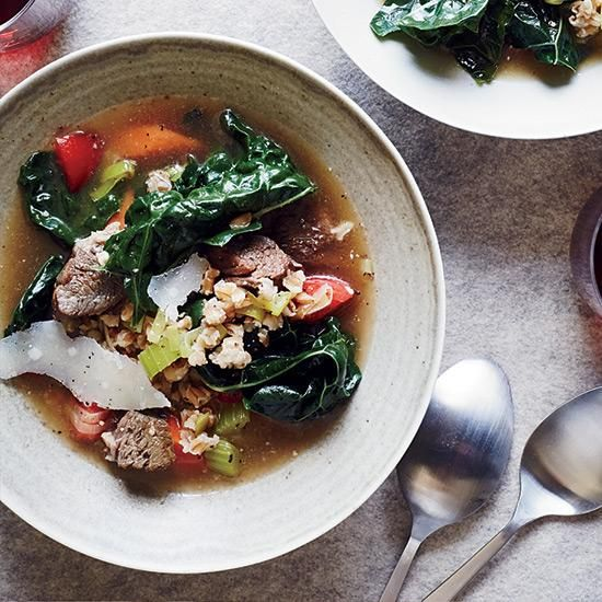 Beef-and-Farro Soup   Chef and TV personality Hugh Acheson uses miso to add umami to this hearty and exceptionally savory soup.