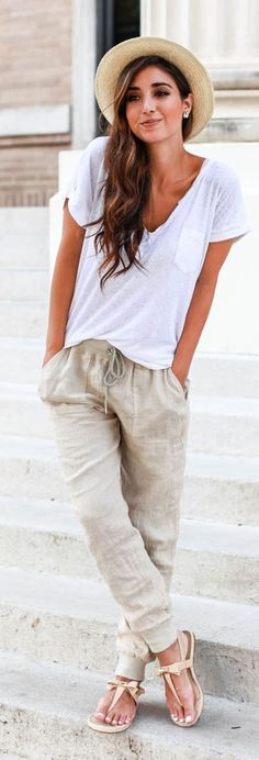 Khaki Plain Belt Drawstring Waist Harem Pants - Pants - Bottoms