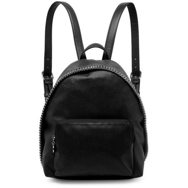 Stella McCartney Falabella Small Faux Leather Backpack ($950) ❤ liked on Polyvore featuring bags, backpacks, black, stella mccartney, vegan backpack, daypack bag, vegan leather bags and faux leather rucksack