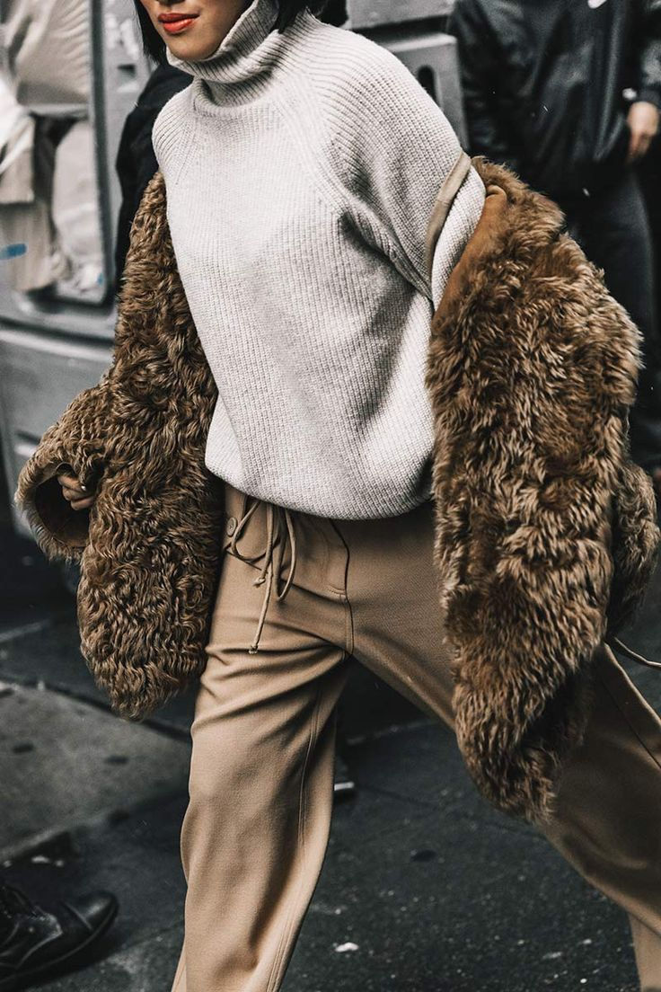 Street Style_soft lounge dressing with roll neck sweater, casual jogger pants and long pile faux fur jacket | Saved by Gabby Fincham |