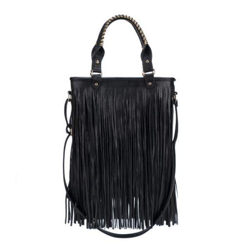 Τσάντα γυναικεία με κρόσσια Ώμου - χεριού OGZ016-Black