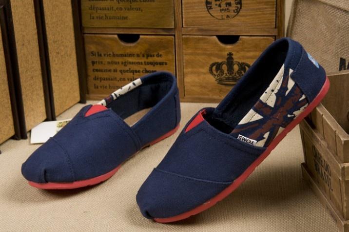 #Toms #Womens Canvas Shoes Blue #UK Flag