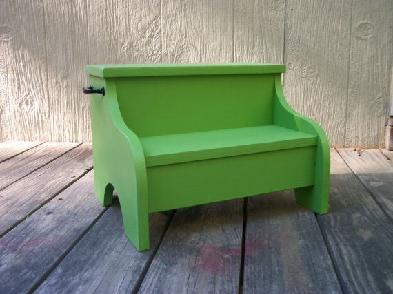 Kids painted  wooden step stool tropical foliage by Clemswshop, $35.00