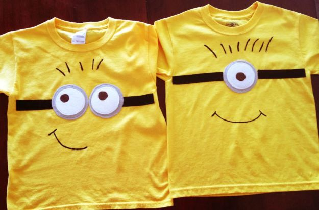 Great party favor: minion t-shirts made using fabric paint and felt.