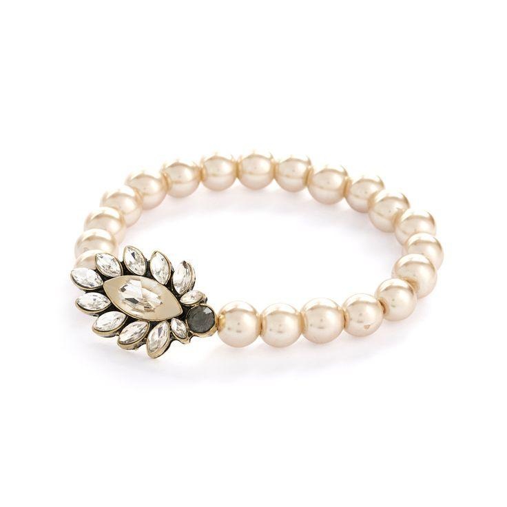 Lovett & Co Diamante 50's Style White Opal Pearl Bracelet RRP £16