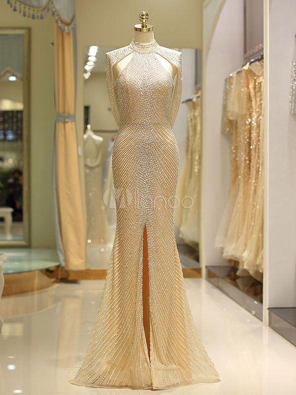 374dd98e92d Luxury Evening Dresses Light Gold Mermaid Halter Heavy Beading Split Sexy Prom  Dress With Train