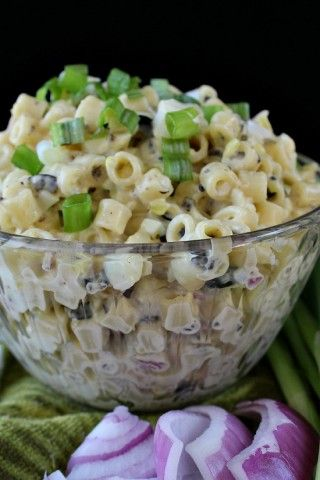 Macaroni Salad ~ Make a macaroni salad taste whole new and unusual with tasty ingredients like black olives, red and green onions, eggs, and mayonnaise.