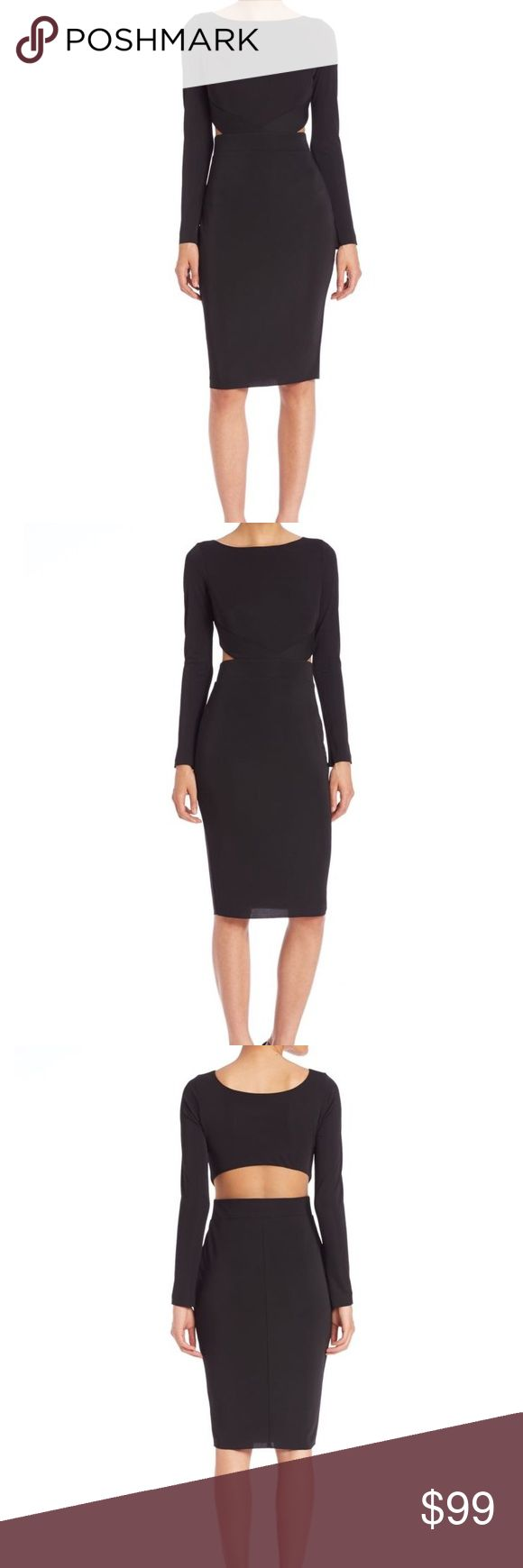 Bailey 44 Valerie Black Midi Long Sleeve Dress Dress: Polyester/spandex                     Boat neck, long sleeves, illusion sides and back Pullover style, lined Bailey 44 Dresses Midi