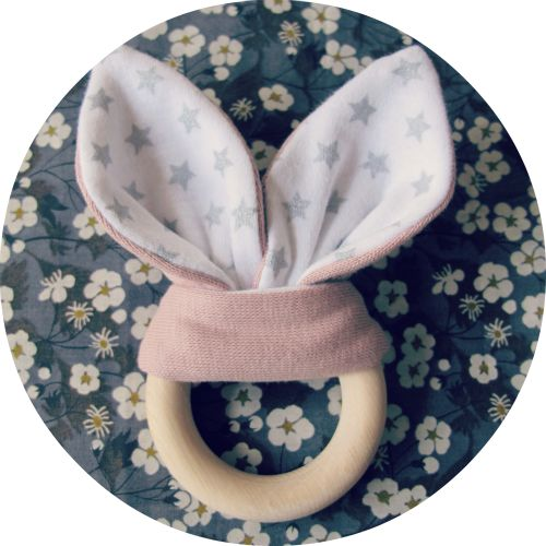 Baby wooden teether with rabbit ears