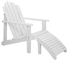 Däckstol Biltema 499:- Klassisk amerikansk däckstol med tillhörande fotpall för en tillbakalutad tillvaro. Delbar så att vilstol och pall kan användas var för sig. Av vittlackerad acacia. Mått: stol 96 x 66 x 92 cm, pall 42 x 42 x 31 cm.