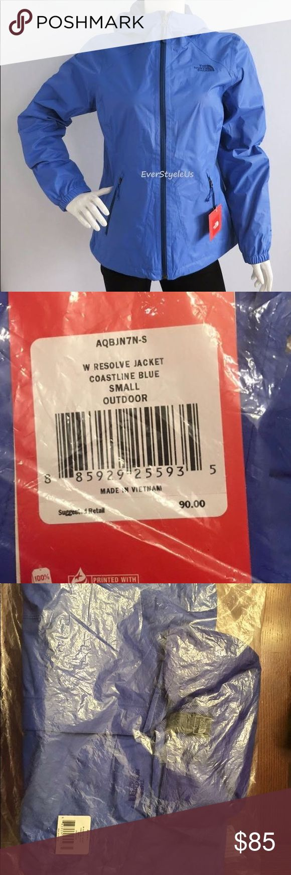 North Face Resolve Coastline Blue Rain Jacket S Brand New, still in package North Face Resolve Coastline Blue rain jacket size Small North Face Jackets & Coats