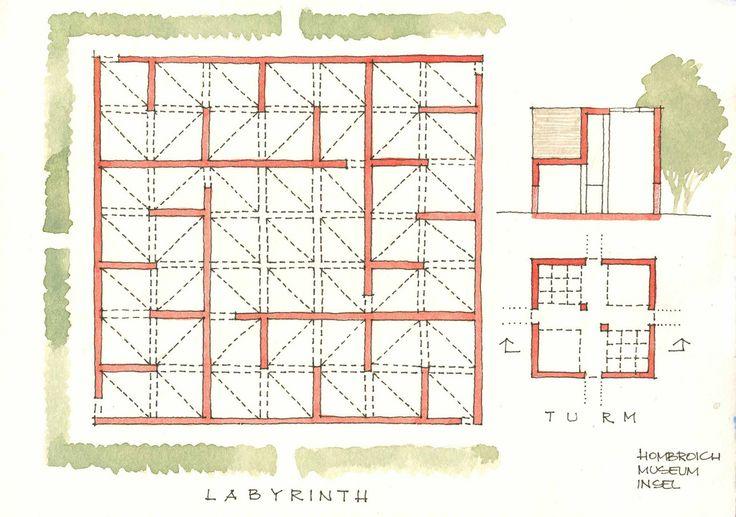 Erwin Heerich   Laberinto [1988] y Torre [1989] Museo Insel Hombroich   Neuss; Alemania