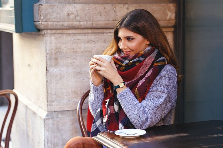 Winter look wearing tartan scarf, grey sweater and brown over the knee boots, here, on my blog: http://larisacostea.com/2016/12/cluse-la-vedette/ Cluse velvet watch