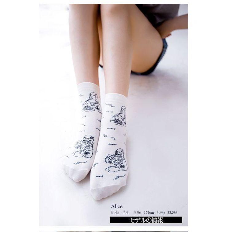 New Caramella Women Funny Graphic Long Socks Korean Novelty Mona Lisa Beethoven Sock Harajuku White Art Socks Cotton