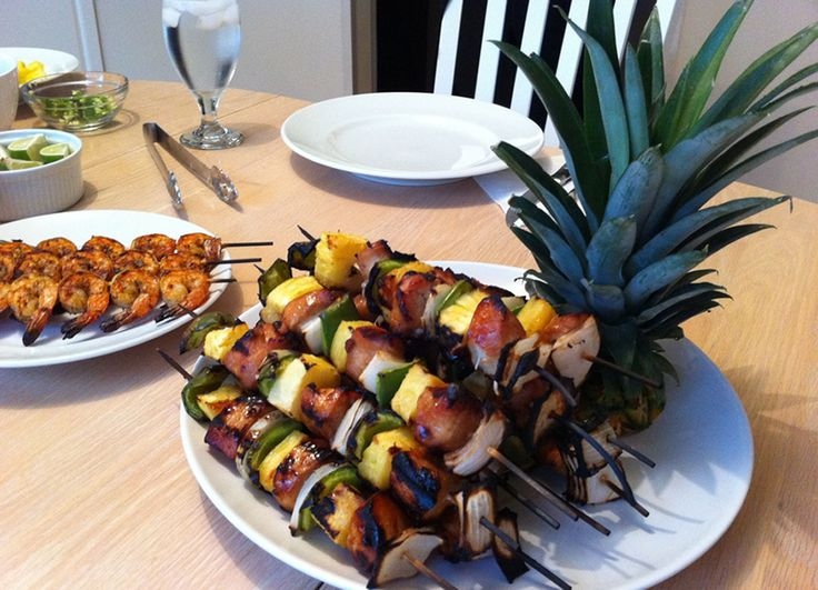 Chicken/shrimp pineapple skewers
