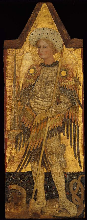 Saint Michael / Archangel Michael, about 1428–37, Pellegrino di Giovanni di Antonio da Perugia. Tempera on panel, 100 x 37.5 cm.  At one time owned by Adolphe Stoclet.  |  Museum of Fine Arts, Boston