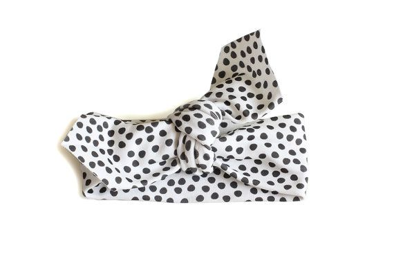 Baby Headband  Pointed End  Dotty Black  Organic by oubaaustralia