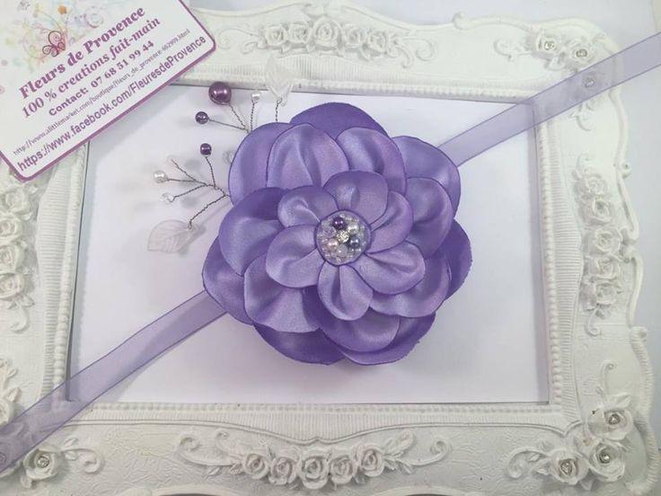 Bracelet avec Fleurs de Soie Mauve - Violet pour demoiselle d'honneur : Autres…