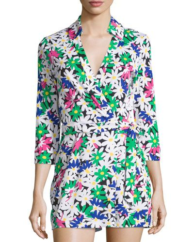 Celeste Floral Wrap Short Jumpsuit, Garden Daisy/Multi