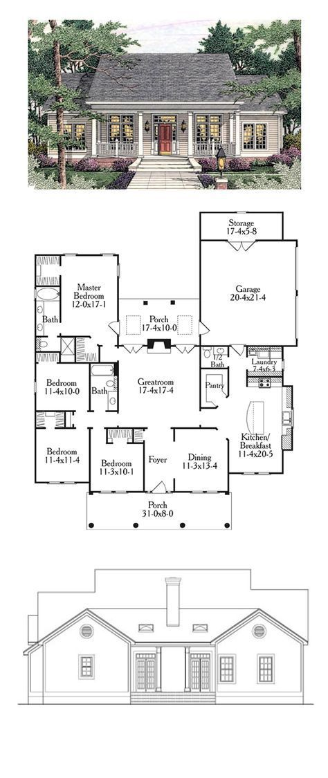 Colonial Style COOL House Plan ID: chp-34123   Total Living Area: 1997 sq. ft., 4 bedrooms and 2.5 bathrooms. #houseplan #colonialhome