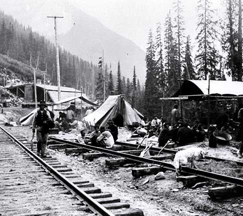 A Chinese work gang on the Canadian Pacific Railway tracks near Rogers Pass, BC, 1889 (photograph by William Notman, courtesy Glenbow Archives/NA-3740-29).