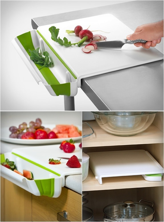 possible future purchase!  Counter Edge Cutting Board with Collapsible Scrap Bin $24.99