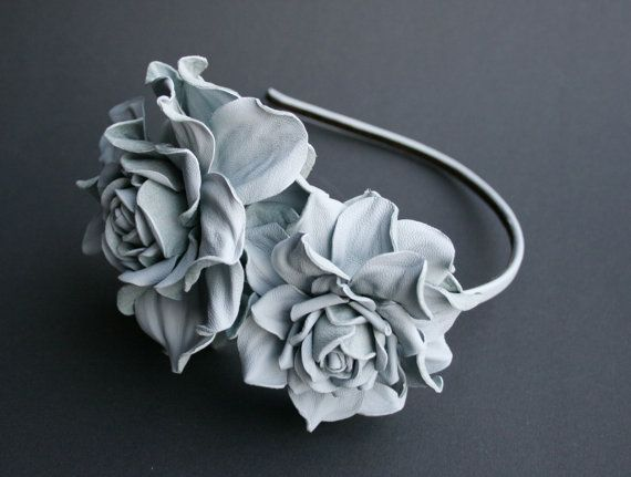 Grayblue Leather Roses Headband by leasstudio on Etsy